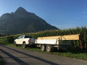 Transport von Baumaterial